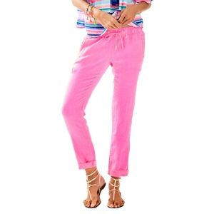 Lilly Pulitzer Pink Aden Linen Pull On Pant